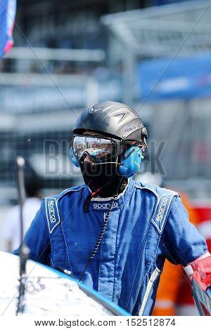 BURIRAM THAILAND - October 9: Service team technician Super GT Series 2016 round 7 in Thailand at Chang International Circuit in Buriram United on October 7-9 2016 at the Buriram Thailand
