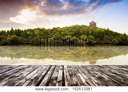 beautiful hangzhou west lake scenery leifeng pagoda in afterglow