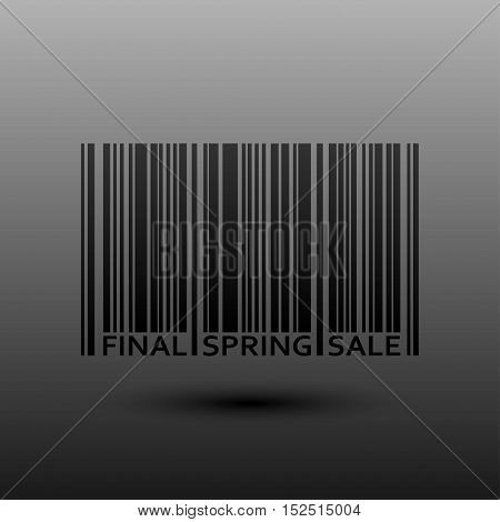 Vector abstract barcode. Spring final sale. Eps 10. Black bars of varying sizes.