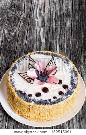 Sponge Cake Decorated With  Icing-sugar Beautiful Pink Flower