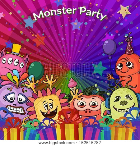 Background for Your Holiday Party Design with Different Cartoon Monsters, Colorful Illustration with Cute Funny Characters, Gift Boxes, Stars and Confetti. Vector
