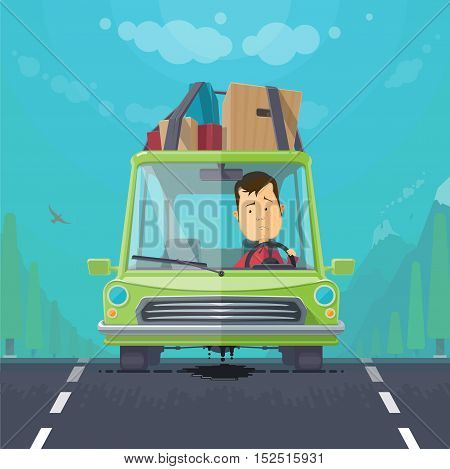 Trendy flat design vehicle sedan car accident after a car accident, a broken traffic and surly driver, engine motor oil leak forest, vector illustrations