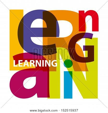 Vector learning. Isolated confused broken colorful text