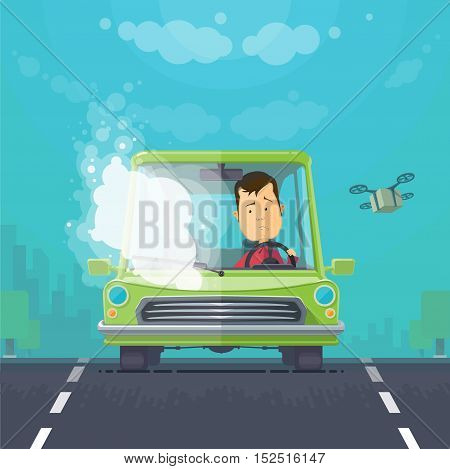 Trendy flat design vehicle sedan car accident after a car accident, a broken traffic and surly driver, background town trees the sky with cargo quadrocopter, vector illustrations
