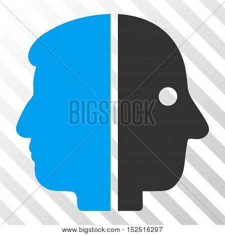 Blue And Gray Dual Face interface toolbar icon. Vector pictograph style is a flat bicolor symbol on diagonal hatch transparent background.
