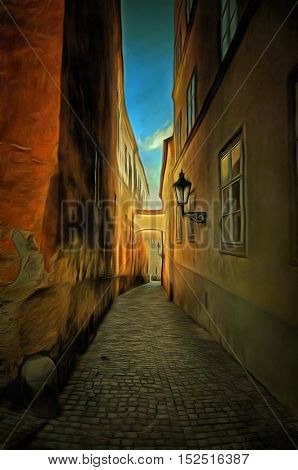 Prague alleyway - historical centre of the Prague. Typical street in the old town of Prague.