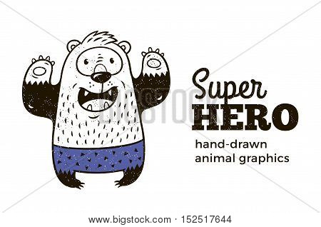 Superhero animal kids. Cartoon vector illustration. Little bear in superheroes costume. Hand drawn animal graphics. Super Hero icon