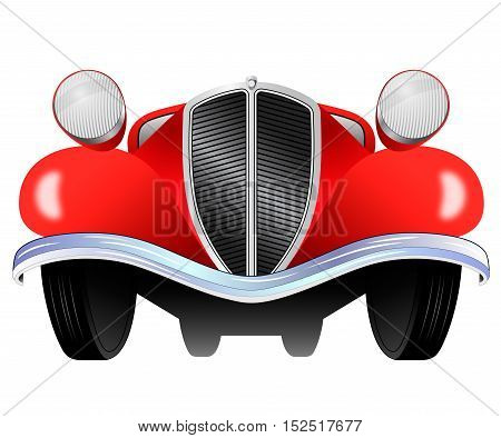 Old vintage model of the car from the front view on white background