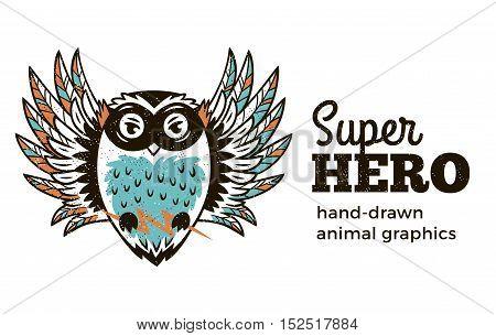 Superhero animal kids. Cartoon vector illustration. Little owl in superheroes costume. Hand drawn animal graphics. Super Hero icon