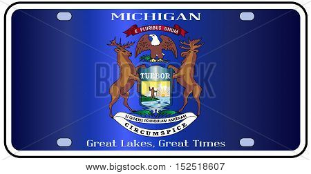 Michigan state license plate in the colors of the state flag with the flag icons over a white background