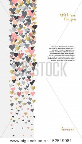 Light vertical design with hearts confetti on white background. Romantic trendy heart frame. Valentine day design for love card valentine day greetings. Vector illustration stock vector.