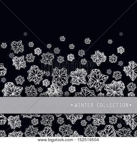 Horizontal border frame. Winter polygonal trendy style snowflakes on black white background. Winter holidays snowfall concept winter label. Fall snowflake white vector illustration stock vector.