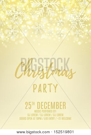 Christmas party flyer with with snowflakes. Beautiful background with shining sparks. Elegant vector illustration with snow. Design of invitation to night club.