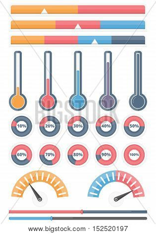 Set of different indicators - horizontal indicators, progrss bars, thermometers, round progress indicators, infographic elements for your projects, vector eps10 illustration