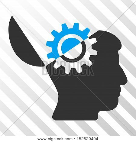 Blue And Gray Open Mind Gear interface pictogram. Vector pictograph style is a flat bicolor symbol on diagonal hatch transparent background.