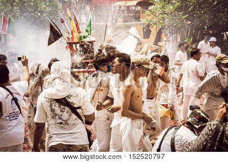 Phuket- Oct 07 : Taoism Participants In A Street Procession Of The Phuket Vegetarian Festival On Oct