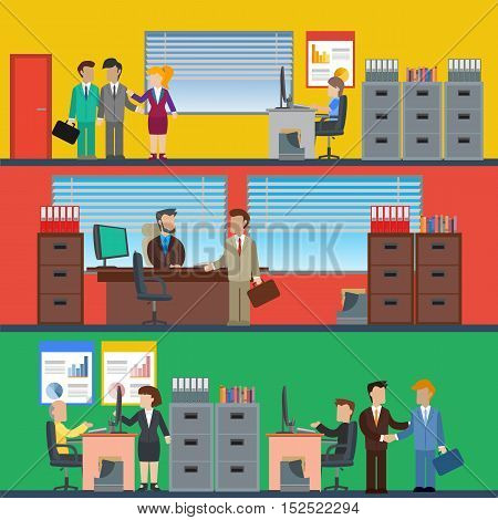 Business people working in the office and corporate building, conference room, reception. Vector illustration.