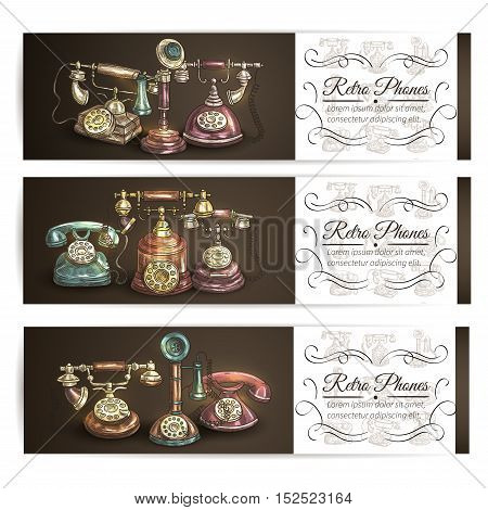 Retro phone sketch banner set with vintage rotary dial and candlestick telephones, supplemented by vignette frame with copy space