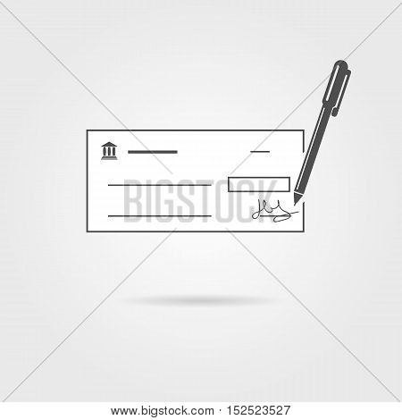 bank check with pen and shadow. concept of repay debt, currency, ecommerce, transaction, purchase, budget. isolated on grey background. flat style trendy modern design vector illustration