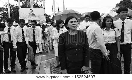 KRABI THAILAND - OCTOBER 19 2016: Krabi official pay respect to the deceased King Bhumibol Adulyadej at Krabi Provincial Hall on October 19 2016 in Krabi Thailand.