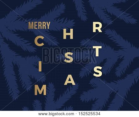 Merry Christmas Abstract Vector Classy Card. Modern Golden Typography on Dark Background. Minimalism.