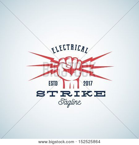 Electrical Strike Power Abstract Vector Emblem or Logo Template. Fist holding Lightnings Symbol with Retro Typography. Isolated.