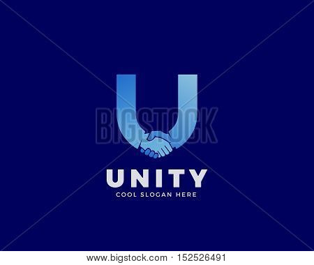 Unity Abstract Vector Sign, Symbol or Logo Template. Handshake Incorporated in Letter U Concept with Clear Modern Typography. On Dark Blue Background.