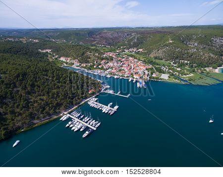 Aerial view of old Skradin at estuary of the Krka river, Croatia