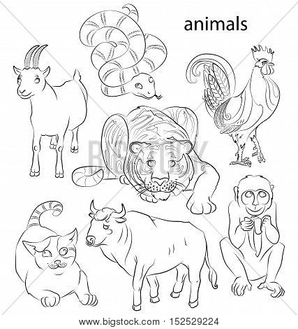 Seven Chinese calendar animals roostercat snake monkey goat tiger and ox. For your convenience each significant element is in a separate layer. eps10