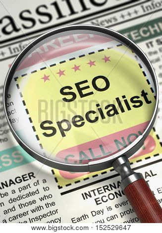 SEO Specialist - Close View of Jobs in Newspaper with Magnifying Lens. SEO Specialist - CloseUp View Of A Classifieds Through Magnifying Lens. Job Search Concept. Selective focus. 3D Illustration.