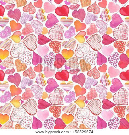 Seamless Pattern With Watercolor Heart. Valentine's Day Background.
