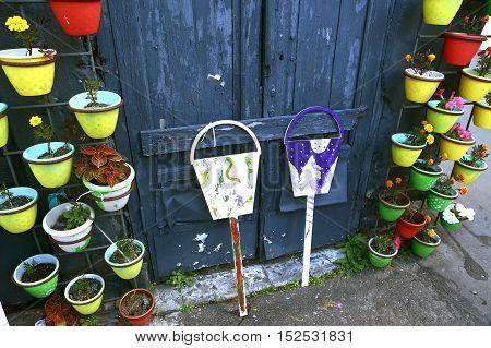 wall decration and garden decor close up photo