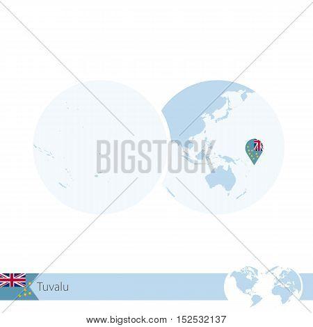 Tuvalu On World Globe With Flag And Regional Map Of Tuvalu.