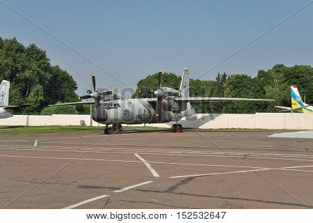Kiev Ukraine - July 7 2012: Indian Air Force Antonov An-32RE cargo plane during the test flight parked on the apron