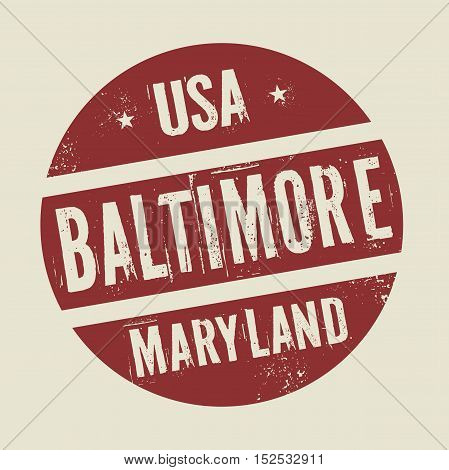 Grunge vintage round stamp with text Baltimore Maryland vector illustration
