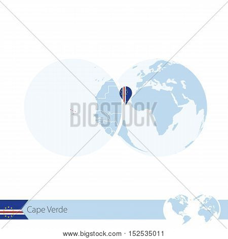 Cape Verde On World Globe With Flag And Regional Map Of Cape Verde.
