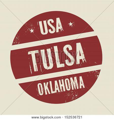 Grunge vintage round stamp with text Tulsa Oklahoma vector illustration