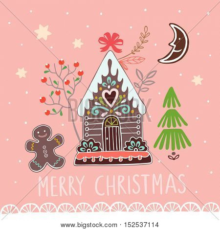 Christmas vector banner with gingerbread house on pink background