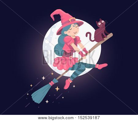 Vector Colorful Halloween Illustration Of Witch Character With Hat, Black Cat Flying On A Broomstick