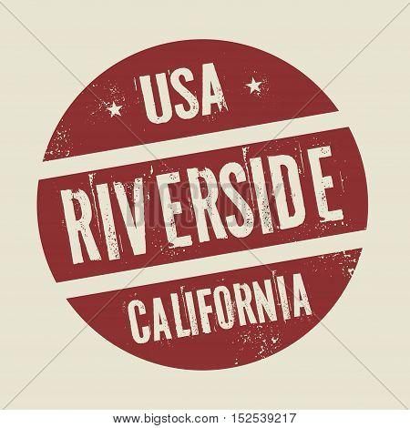 Grunge vintage round stamp with text Riverside California vector illustration