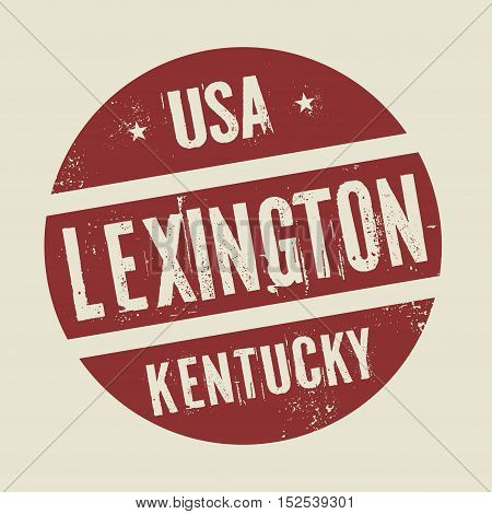 Grunge vintage round stamp with text Lexington Kentucky vector illustration