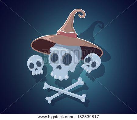Vector Halloween Illustration With Skulls, Crossbones, Witch Hat On Dark Night Background.
