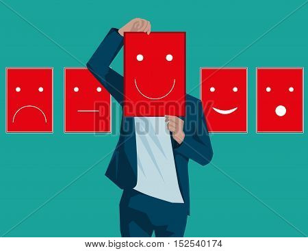 Disguised Emotions, Personality, Change. Concept Business Illustration. Vector Flat