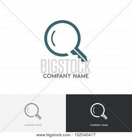 Real estate logo - search magnifier and key symbol on the white background