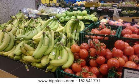 PRAGUE CZECH REPUBLIC - OCTOBER 20 2016: Vegetable section in Albert grocery supermarket. AHOLD Czech Republic operates supermarkets and hypermarkets under Albert trademark since 2000.