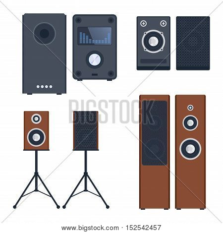 Home sound system. Home stereo flat vector music systems for music lovers.