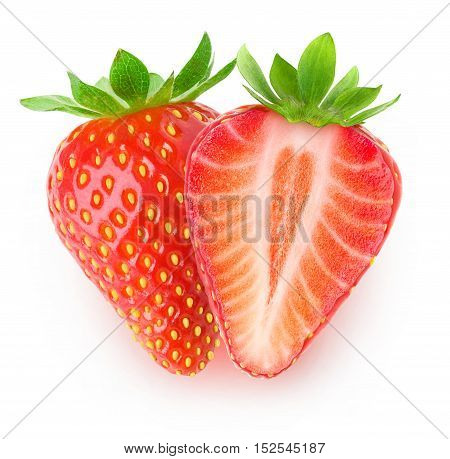 Isolated Cut Strawberries
