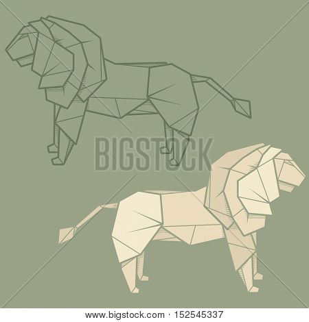 Set vector simple illustration paper origami and contour drawing of lion.