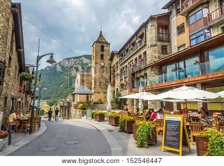 ORDINO,ANDORRA - AUGUST 29,2016 - In the streets of Ordino . Ordino is the most northerly parish in the Principality of Andorra.