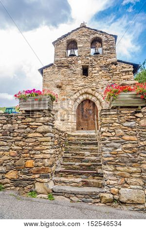 PRATS,ANDORRA - AUGUST 29,2016 - Church Saint Miquel of Prats near Canillo in Andorra. Prats is a village in Andorra located in the parish of Canillo.